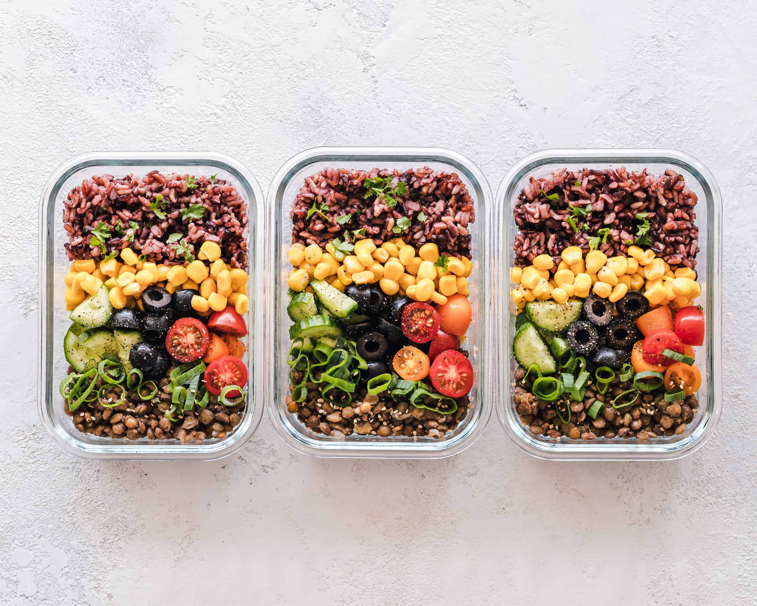 three to-go salads in a row